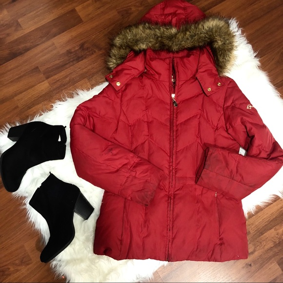 Guess Jackets & Blazers - GUESS Red Puffer Coat with Fur Hood